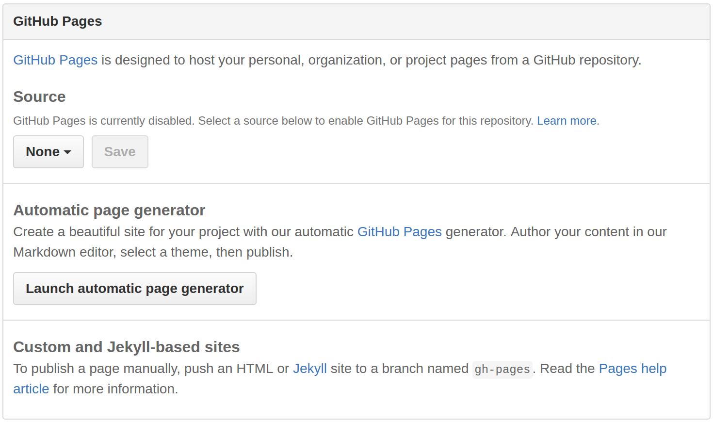 GitHub Pages Settings